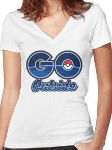 Pokemon Go Outside! Women's Fitted V-Neck T-Shirt