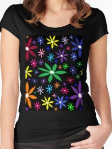 Colorful Retro Flowers on Black Women's Fitted Scoop T-Shirt