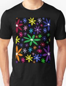 Colorful Retro Flowers on Black Unisex T-Shirt