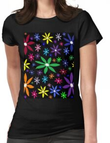 Colorful Retro Flowers on Black Womens Fitted T-Shirt