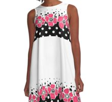 Red flowers on black and white background with polka dots. A-Line Dress