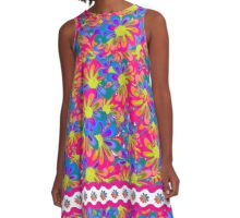 Peace Flower 2- White Lettering A-Line Dress