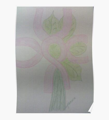 Pink Ribbon Flower Poster