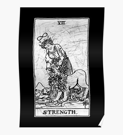 Strength Tarot Card - Major Arcana - fortune telling - occult Poster