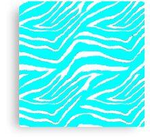 Zebra Animal Print Blue and White Pattern Canvas Print