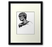 Min Yoongi Grey-scale sketch Framed Print