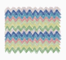 Pastel Sketch Zig Zag Chevron One Piece - Long Sleeve