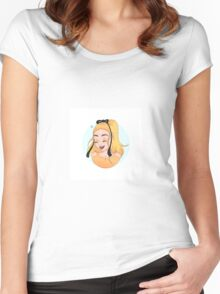 Peyton List- cartoon drawing. Women's Fitted Scoop T-Shirt