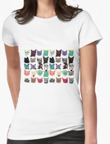 Psychedelic Cats Womens Fitted T-Shirt