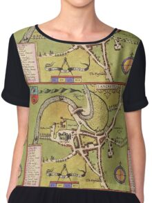 Lancaster Vintage map.Geography Great Britain ,city view,building,political,Lithography,historical fashion,geo design,Cartography,Country,Science,history,urban Chiffon Top