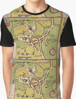 Lancaster Vintage map.Geography Great Britain ,city view,building,political,Lithography,historical fashion,geo design,Cartography,Country,Science,history,urban Graphic T-Shirt