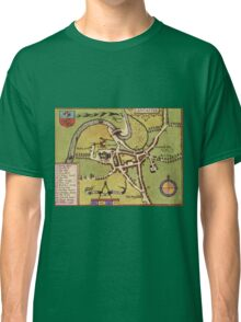 Lancaster Vintage map.Geography Great Britain ,city view,building,political,Lithography,historical fashion,geo design,Cartography,Country,Science,history,urban Classic T-Shirt