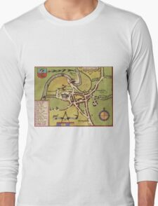 Lancaster Vintage map.Geography Great Britain ,city view,building,political,Lithography,historical fashion,geo design,Cartography,Country,Science,history,urban Long Sleeve T-Shirt