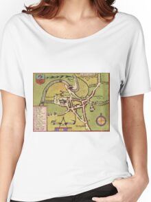 Lancaster Vintage map.Geography Great Britain ,city view,building,political,Lithography,historical fashion,geo design,Cartography,Country,Science,history,urban Women's Relaxed Fit T-Shirt