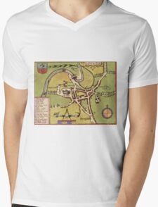 Lancaster Vintage map.Geography Great Britain ,city view,building,political,Lithography,historical fashion,geo design,Cartography,Country,Science,history,urban Mens V-Neck T-Shirt