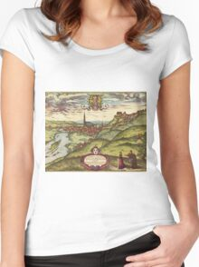 Landshut Vintage map.Geography Germany ,city view,building,political,Lithography,historical fashion,geo design,Cartography,Country,Science,history,urban Women's Fitted Scoop T-Shirt