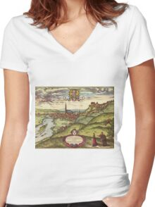 Landshut Vintage map.Geography Germany ,city view,building,political,Lithography,historical fashion,geo design,Cartography,Country,Science,history,urban Women's Fitted V-Neck T-Shirt