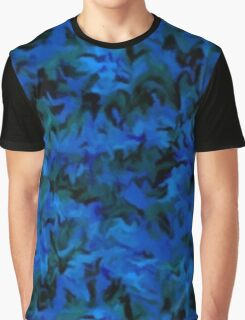 Retro Abstract Charcoal Sapphire Blue Graphic T-Shirt