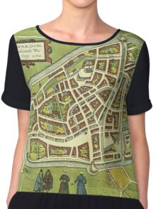 Leeuwaerden Vintage map.Geography Netherlands ,city view,building,political,Lithography,historical fashion,geo design,Cartography,Country,Science,history,urban Chiffon Top