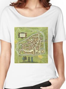 Leeuwaerden Vintage map.Geography Netherlands ,city view,building,political,Lithography,historical fashion,geo design,Cartography,Country,Science,history,urban Women's Relaxed Fit T-Shirt