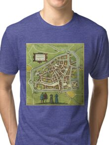 Leeuwaerden Vintage map.Geography Netherlands ,city view,building,political,Lithography,historical fashion,geo design,Cartography,Country,Science,history,urban Tri-blend T-Shirt