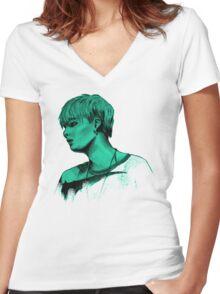 Min Yoongi mint sketch Women's Fitted V-Neck T-Shirt