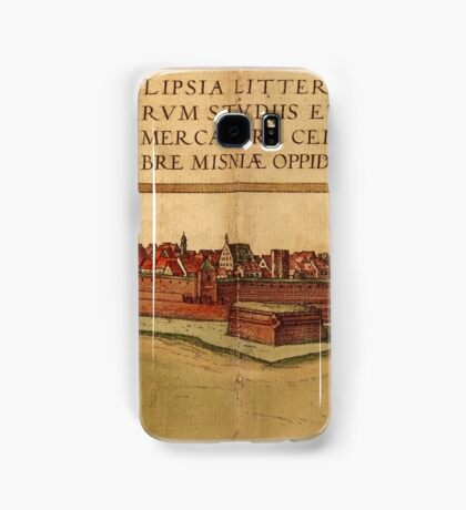 Leipzig Vintage map.Geography Germany ,city view,building,political,Lithography,historical fashion,geo design,Cartography,Country,Science,history,urban Samsung Galaxy Case/Skin
