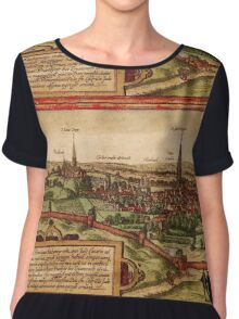 Leuven Vintage map.Geography Belgium ,city view,building,political,Lithography,historical fashion,geo design,Cartography,Country,Science,history,urban Chiffon Top