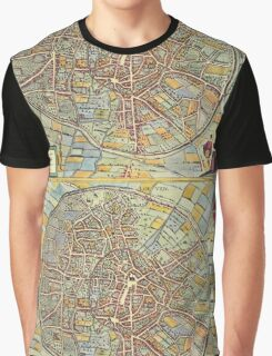 Leuven(2) Vintage map.Geography Belgium ,city view,building,political,Lithography,historical fashion,geo design,Cartography,Country,Science,history,urban Graphic T-Shirt