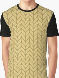 Yellow hand drawn knitting braids pattern Graphic T-Shirt