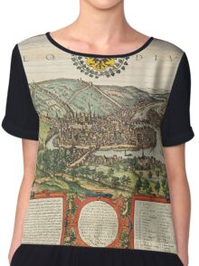 Liege Vintage map.Geography Belgium ,city view,building,political,Lithography,historical fashion,geo design,Cartography,Country,Science,history,urban Chiffon Top