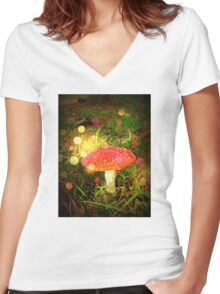 Magical Fairy Toadstool Women's Fitted V-Neck T-Shirt