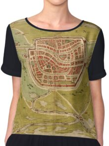 Leiden Vintage map.Geography Netherlands ,city view,building,political,Lithography,historical fashion,geo design,Cartography,Country,Science,history,urban Chiffon Top