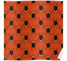 Halloween spiders pattern. Cute seamless background. Poster