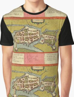 Limerick Vintage map.Geography Irland ,city view,building,political,Lithography,historical fashion,geo design,Cartography,Country,Science,history,urban Graphic T-Shirt