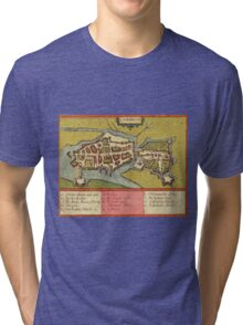 Limerick Vintage map.Geography Irland ,city view,building,political,Lithography,historical fashion,geo design,Cartography,Country,Science,history,urban Tri-blend T-Shirt