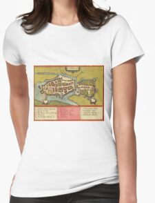 Limerick Vintage map.Geography Irland ,city view,building,political,Lithography,historical fashion,geo design,Cartography,Country,Science,history,urban Womens Fitted T-Shirt
