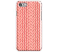 Red hand drawn knitting braids pattern iPhone Case/Skin
