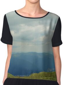 Natural scenery with mountains and cloudy sky. Chiffon Top