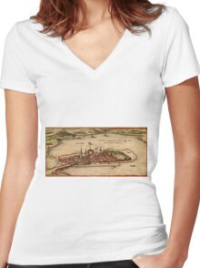 Lindau Vintage map.Geography Germany ,city view,building,political,Lithography,historical fashion,geo design,Cartography,Country,Science,history,urban Women's Fitted V-Neck T-Shirt