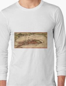 Lindau Vintage map.Geography Germany ,city view,building,political,Lithography,historical fashion,geo design,Cartography,Country,Science,history,urban Long Sleeve T-Shirt