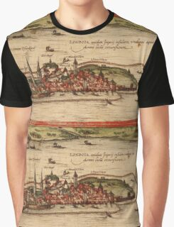 Lindau Vintage map.Geography Germany ,city view,building,political,Lithography,historical fashion,geo design,Cartography,Country,Science,history,urban Graphic T-Shirt