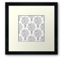 Rose bouquet seamless pattern. Hand drawn outline background. Flower sketch wallpaper. Framed Print