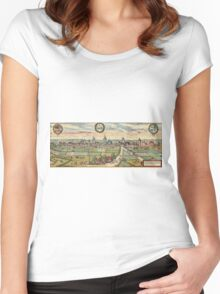 Lippstadt Vintage map.Geography Germany ,city view,building,political,Lithography,historical fashion,geo design,Cartography,Country,Science,history,urban Women's Fitted Scoop T-Shirt
