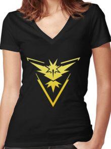 Team Instinct Pokemon Go gradient zapdos no text Women's Fitted V-Neck T-Shirt