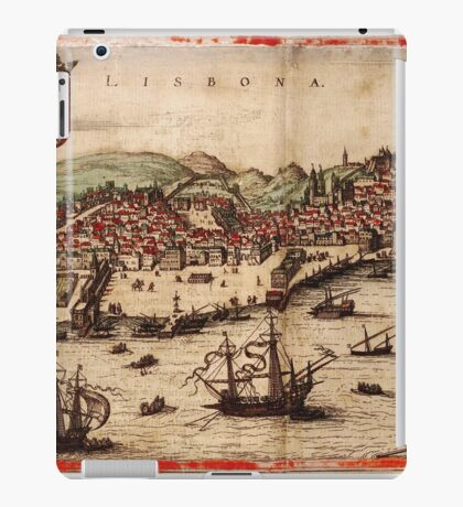 Lisbon Vintage map.Geography Portugal ,city view,building,political,Lithography,historical fashion,geo design,Cartography,Country,Science,history,urban iPad Case/Skin