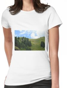 Natural scenery with mountains and cloudy sky. Womens Fitted T-Shirt