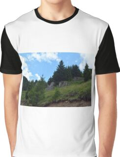 Natural scenery with mountains and cloudy sky. Graphic T-Shirt