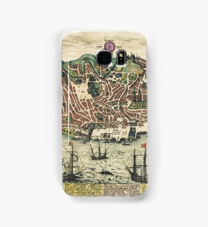 Lisbon2 Vintage map.Geography Portugal ,city view,building,political,Lithography,historical fashion,geo design,Cartography,Country,Science,history,urban Samsung Galaxy Case/Skin
