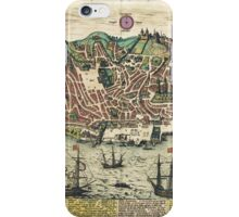 Lisbon2 Vintage map.Geography Portugal ,city view,building,political,Lithography,historical fashion,geo design,Cartography,Country,Science,history,urban iPhone Case/Skin